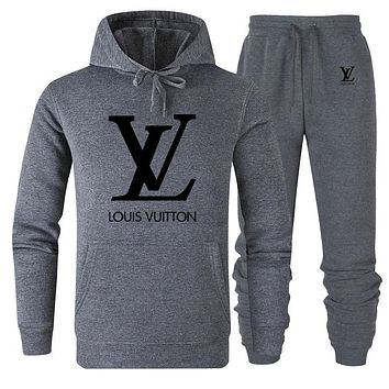LV 2019 new classic big logo solid color loose men and women sports suit two-piece Grey