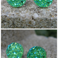 Earrings Druzy Stud Earrings Boho Jewelry Green 12MM -Southern Stitches Co
