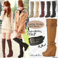 Rakuten: [a good-quality leather material!wedge-heel shoes belt long boots |] P]It has been had ◆- Shopping Japanese products from Japan