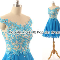 2015 Sweet 16 Blue Beading Lace Prom Dress/Open Back Lace Prom Dress/Sexy Homecoming Dress/Graduated Dresses/Short Prom Dress/A086
