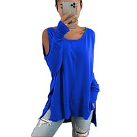 fhotwinter19 hot style tie-dye pullover loose strapless long sleeve solid color round neck bottoming shirt