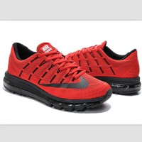 NIKE Trending Fashion Casual Sports Shoes AirMax Toe Cap hook section knited Red black hook