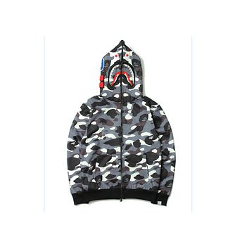 Bape AAPE  Tide brand yin and yang mosaic camouflage shark head embroidery hooded jacket men and women sweater  Black