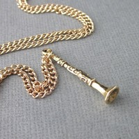 Gold Plated Clarinet Charm Necklace Steel Chain Band Student Jewelry