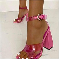 Sandals For Women Thick High Heels High Heels With Buckles Transparent  Sandals