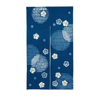 Japanese Traditional Cotton Noren Curtain Blind Ume Utaze Navy