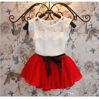 hot Sell Summer Children Clothing Girls 2pcs Sets Kid Short Sleeve Lace T Shirt Tops + Bow Pleated Skirt Outfit Kids Girl Sweet Outfits.