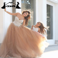 Luxury Pearls Beaded Prom Dresses Formal Women Ball Gowns Girls Dress Sweetheart Tulle Lace-up Vestido De Festa Custom Made