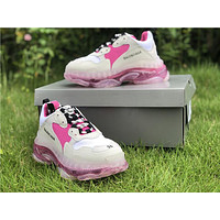 Balenciaga Triple S Clear Sole Trainers White/ Pink Sneakers - Best Online Sale