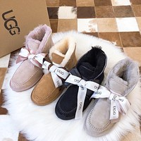 UGG new fashion sheepskin boots ladies mid-tube stitched leather retro boots