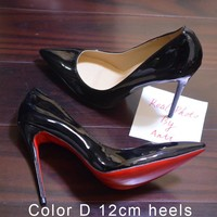 Women Pumps Spike Red Bottom Shoes High Heels Patent Leather