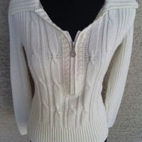 DKNY cream sweater Vneck zip front long sleeves small Petite small vintage 80s