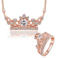 Gold Plating jewelry set crown crystal necklace+ring wedding jewelry