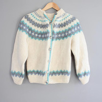 Hand knitted Nordic Norwegian Cardigan Pure Wool Thick Knit Minimalist Slouchy Sweater Vintage Size S #K058A