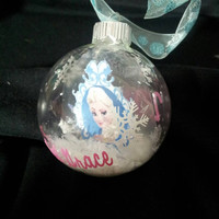 Frozen Elsa Floating  Christmas ornament personalized with Vinyl! Personalized Frozen ornament