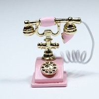 Odoria Pink Old Fashioned Rotary Phone Telephone with Receiver Miniature Dollhouse