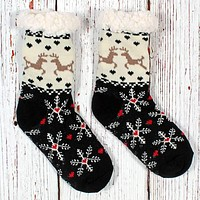 Dasher and Dancer Sherpa Lined Socks by Nordic Fleece