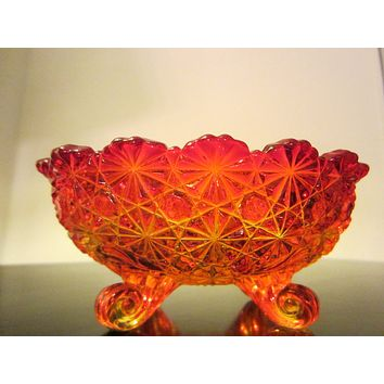 Amberina Orange Glass Bowl Starcut Pedestal Curvy