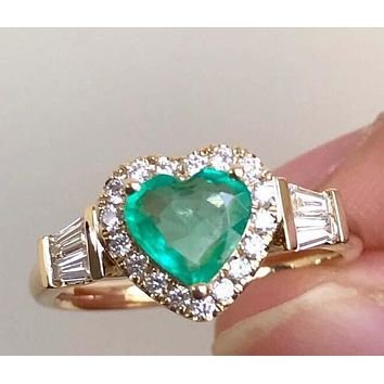 Hot selling fashion jewelry new real gold plating inlaid peach heart zircon engagement ring