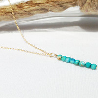 Turquoise Vertical Bar Necklace