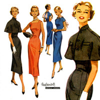 1950s Dress Pattern Bust 32 McCalls 3614 Evening Cocktail Party Princess Seam Sheath Dress and Capelet Shrug Womens Vintage Sewing Patterns