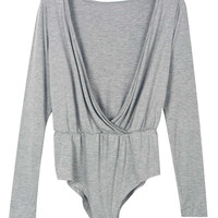 Grey Wrap Front Long Sleeve Plain Bodysuit