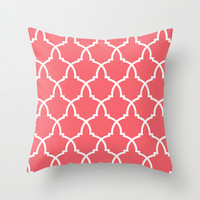 Urn Coral Lattice Throw Pillow by House of Jennifer