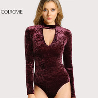 Online Shop COLROVIE Choker Neck Sexy Skinny Bodysuit Crushed Velvet Women Long Sleeve Burgundy Bodysuits 2017 Basic Elegant Autumn Bodysuit | Aliexpress Mobile