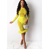 Women Sexy Sheer Printed Long Sleeve Feather Patchwork Dress