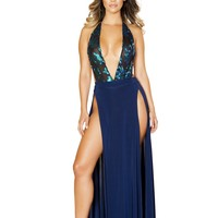 Includes Low Neck Sheer and Sequin Applique Romper and High Slit Skirt
