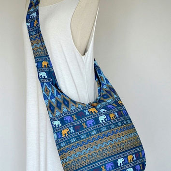 Traditional Thai Patterns / GREEN TURQUOISE / Ethnic Hippie Purse and Fashion Cross Body Bag / Boho Hobo Messenger Bag DES303