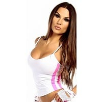Sexy Neon Trim Balance Work Out Triple Stripe Fitness Full Coverage Top - White/Hot Pink