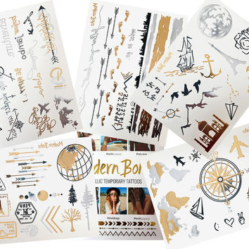Wanderlust Travel Inspired Collection Metallic Tattoos Gold and Silver Flash By Modern Boho