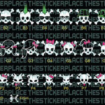 4 character Skull Family - with color hair and bows - Vinyl car window sticker
