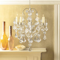 Luxurious Curlicues Crystal Ivory Baroque Candle Holder Chandelier