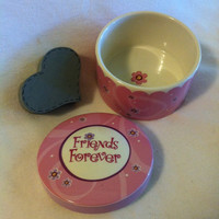 Friends Forever Trinket Box Vintage Pink Ceramic Jewelry Box With Flowers and Friends Forever on Lid Cute Gift For Her Teens Girls Gift
