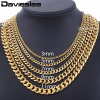 Mens Necklaces Chains Stainless Steel Silver Black Gold Necklace for Men Women Curb Cuban Davieslee Jewelry 3/5/7/9/11mm DLKNM08