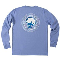 Aztec Logo Long Sleeve Tee Shirt in Periwinkle by The Southern Shirt Co.