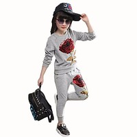 Girls Clothing Sets Autumn Wool Sportswear Long Sleeve Roses Floral Embroidered Sequin sets Kids Clothing Sets