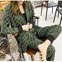 Fendi Fashion New More Letter Print Long Sleeve Coat And Pants Two Piece Suit