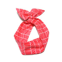 Red Herringbone Wire Headband Dolly Bow by All Things in Color
