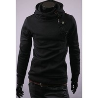 Black Long Sleeve With Button Casual Slim Outerwear With Cap M/L/XL/XXL@X700NH5S0W16b