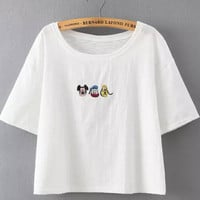 White Short Sleeve Cartoon Print Crop Shirt