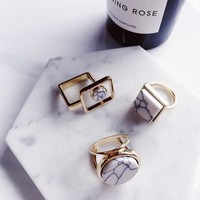 Minimalist Geometric Marble Ring- (Round, Square)