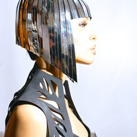 Cleopatra metallic wig hairdress in chrome or gold