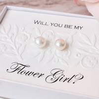 Bridal party gift - bridesmaids gifts - sterling silver real freshwater pearl stud earrings - bridesmaids invite or thank you gift box
