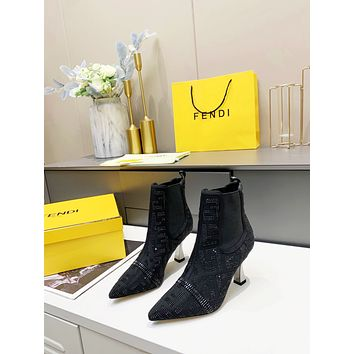 FENDI 2021Trending Women's men Leather Side Zip Lace-up Ankle Boots Shoes High Boots10100xf