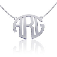 Monogram Necklace Silver 1.0 inch- Custom Made Initials Monogrammed Necklace Name Jewelry, bridesmaid necklace