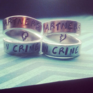 Partners in crime half heart. inside spiral hand stamped BFF two rings