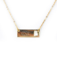Monogrammed Golden Alabama Name Plate Necklace | Accessories | Marley Lilly